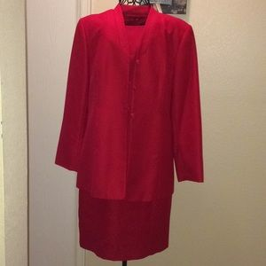 Red dress & coat suit